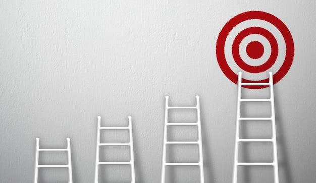 目標を高く目指して成長する最長の白いはしご