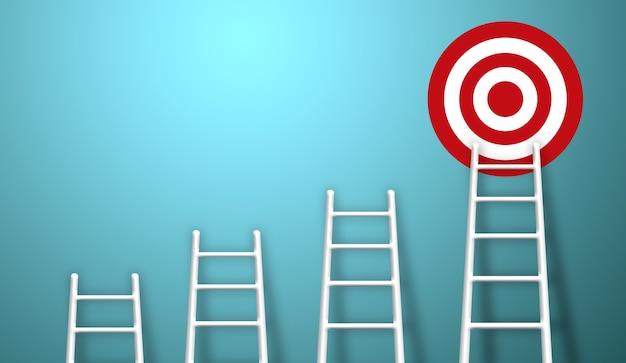 목표 목표에 높은 목표를 목표로 성장 성장하는 가장 긴 흰색 사다리.