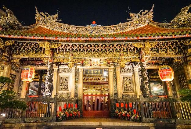 龍山寺、台北、台湾。それは金色に輝き、夜はとても美しいです。写真のテキストは英語で龍山寺を意味します)