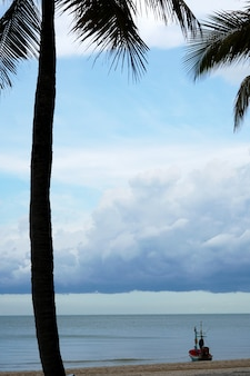 Longtail boat on the beach with coconut palm trees sea and nimbus clouds in the sky
