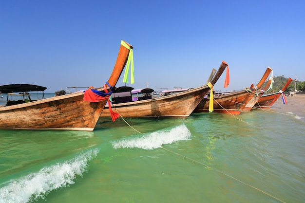 Longtail boats at  ao nang beach,  krabi , thailand