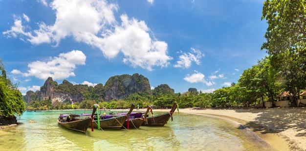 Longtail boats at railay beach in krabi, thailand