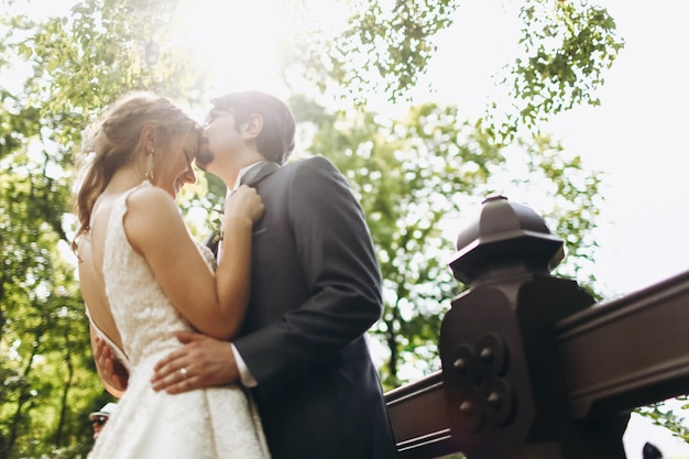 公園のどこかの橋でキスしている結婚式のカップルで下から見てください