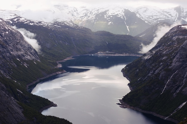 Look from above at the water in the fjord