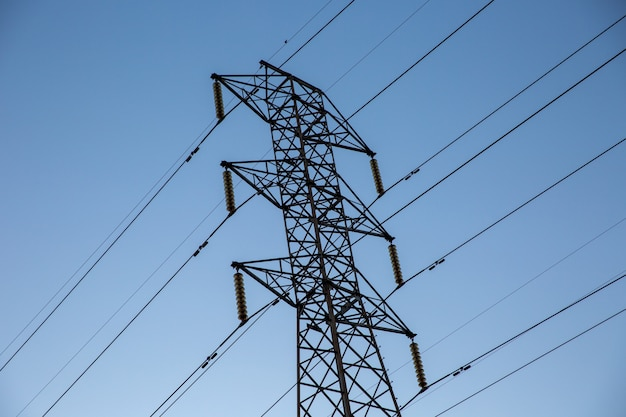 Look up high voltage of power transmission towers.