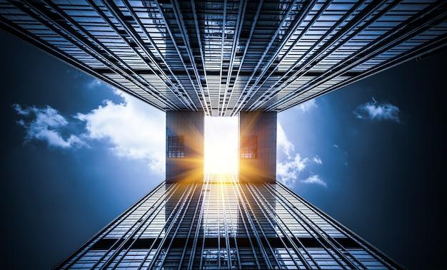 超高層ビルで空を見上げる