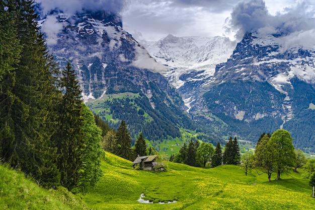 谷の向こうにそびえ立つ山々を望む