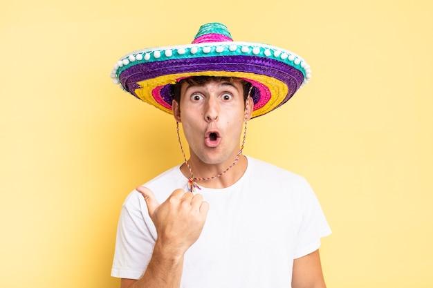 信じられないことに驚いた様子で、横にある物を指差して、すごい、信じられない、と言った。メキシコの帽子の概念