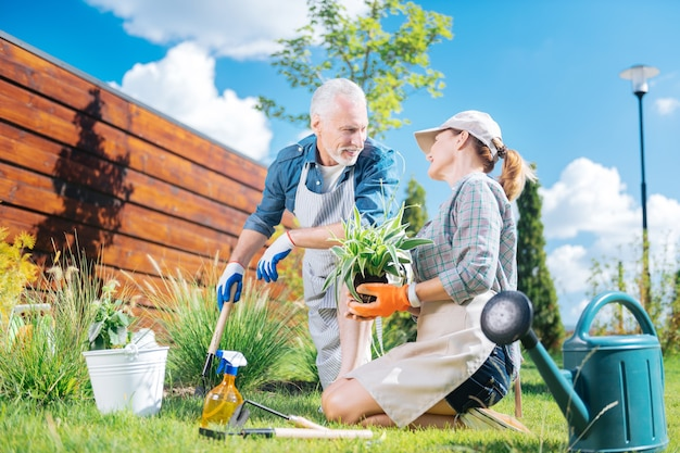Looking at wife. handsome mature man looking at his appealing wife while planting flowers together on their weekend