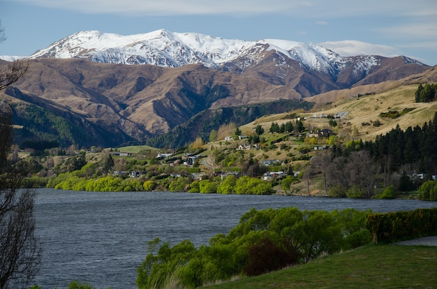 Lookout point  of the remarkables mountain range in  queenstown, new zealand