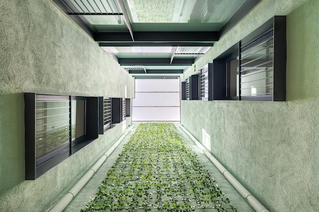 バルセロナの非対称の場所に垂直ガーデニングを備えたモダンな住宅のルックアップビュー...