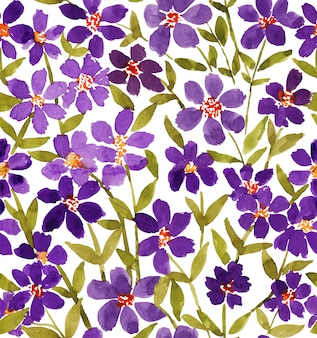 Loose watercolour purple abstract flower and green leaf seamless pattern