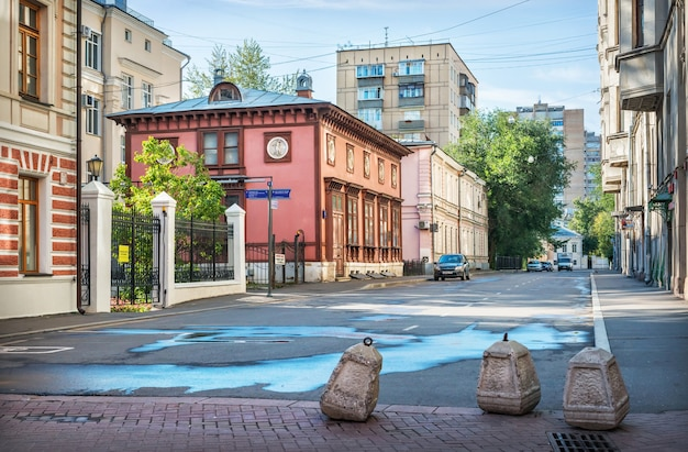 Lopyrevsky's house in a lane on arbat in moscow on a summer sunny morning