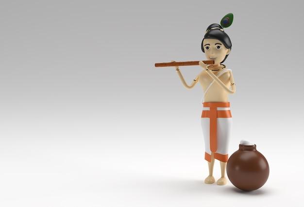 버터 한 냄비로 반수리(플루트)를 연주하는 크리슈나 경. 3d 렌더링 그림입니다.