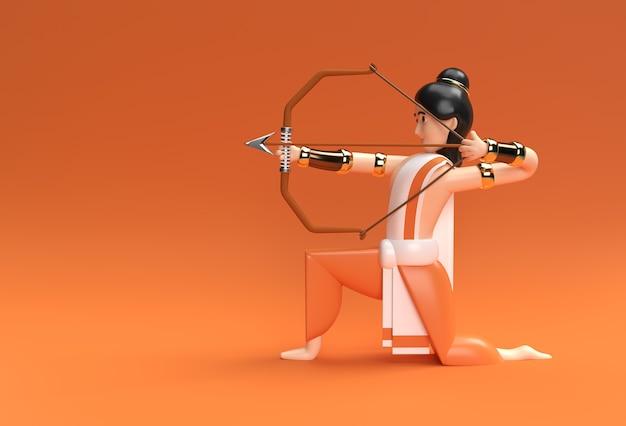 인도 포스터의 활 navratri 축제, 3d 렌더 일러스트레이션 디자인이 있는 라마 애로우 경.