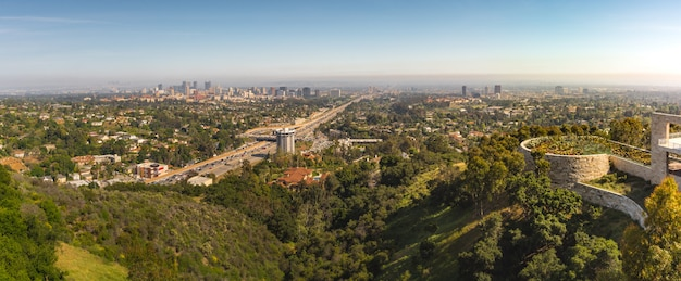 Los angeles cityscape panorama with botanical garden nd highway