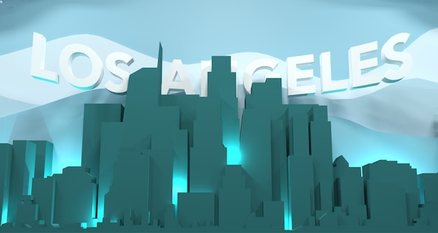 Los angeles cityscape with wording, 3d rendering
