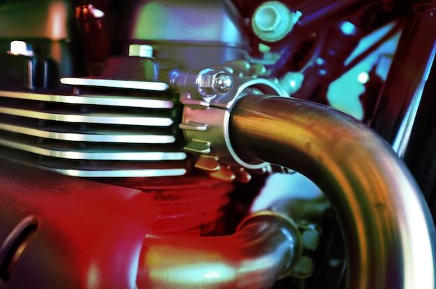 Lose up of motorcycle engine design details