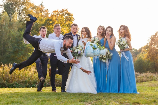 Loser drops the wedding cake during the wedding ceremony