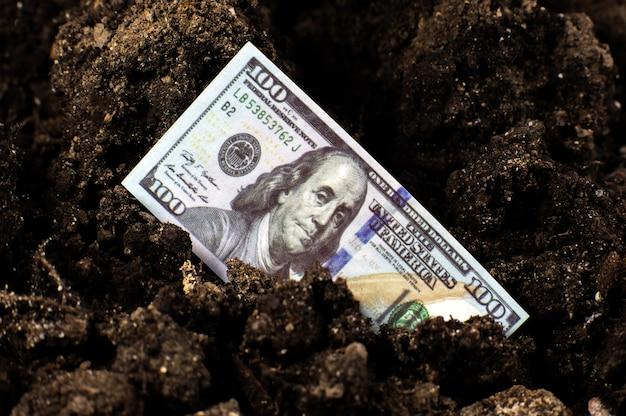Потерянные американские доллары в почве. экономический кризис в сша. девальвация валюты и инфляция. коронавирус кризис.