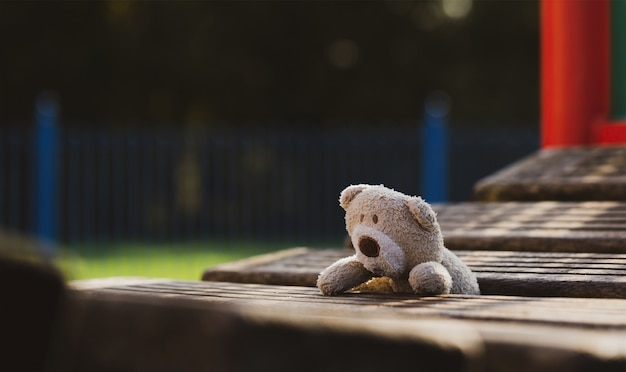 Lost teddy bear lying on wooden bridge at playground in gloomy day
