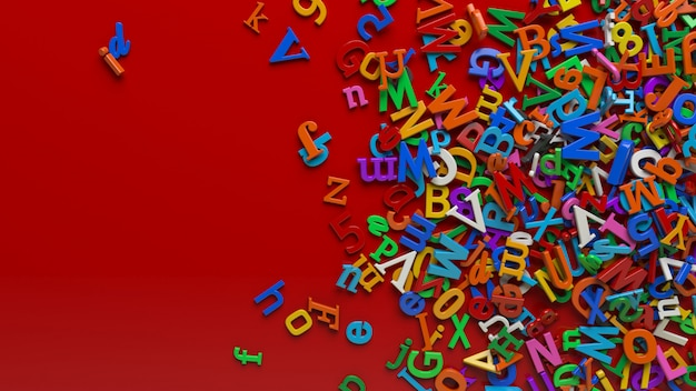 A lot of 3d colorful alphabet letters over a red background