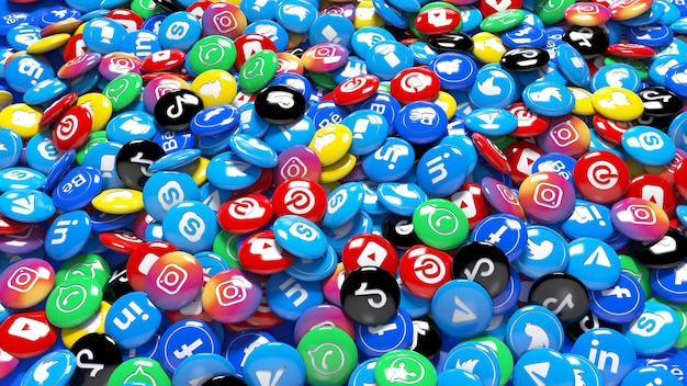 A lot of 3d multicolor social network glossy pills in a close up view