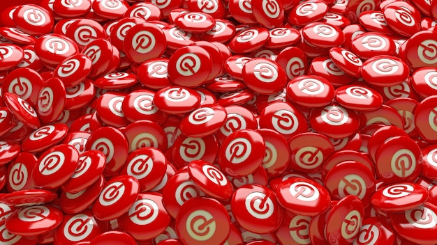 A a lot of 3d pinterest red glossy pills in a close up view