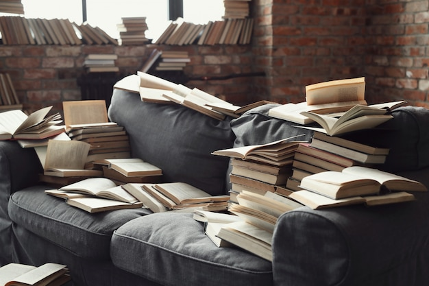 A lot of books lying on the sofa. nobody