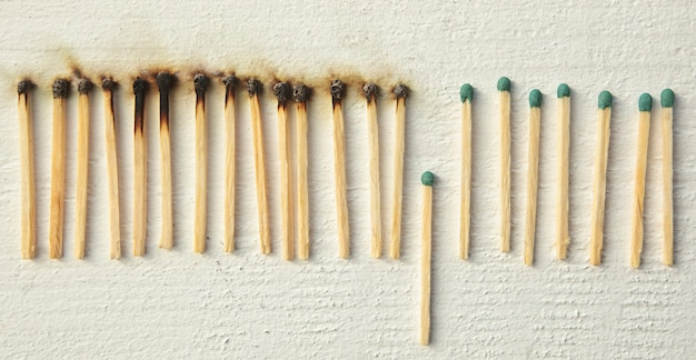 A lot of burnt matchsticks and one matchstick prevents following burning.