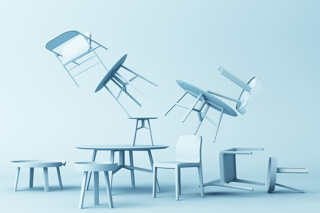 A lot of chairs and coffee table in blue colour tone 3d rendering
