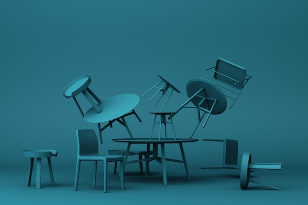 A lot of chairs and coffee table in dark blue colour tone 3d rendering
