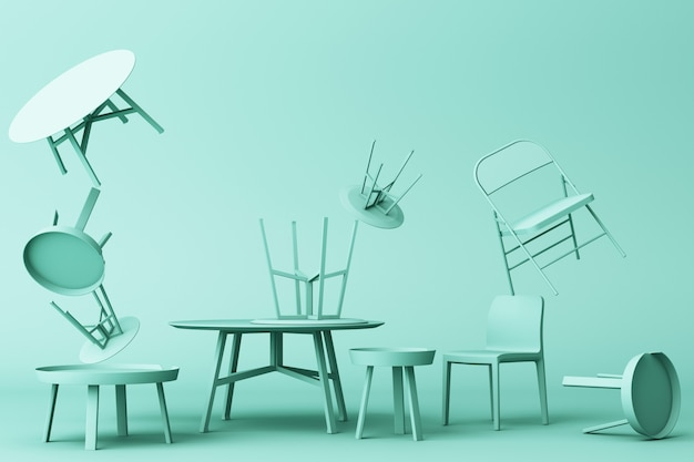 A lot of chairs and coffee table in green colour tone 3d rendering