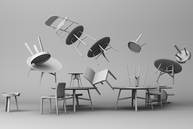 A lot of chairs and coffee table in grey colour tone 3d rendering