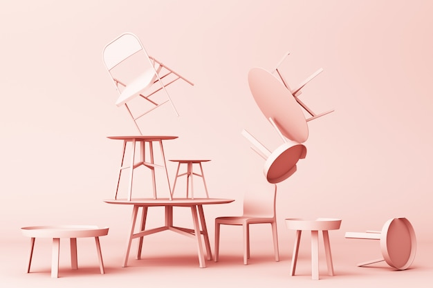 A lot of chairs and coffee table in pastel pink tone 3d rendering