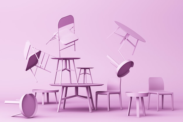 A lot of chairs and coffee table in purple colour tone 3d rendering