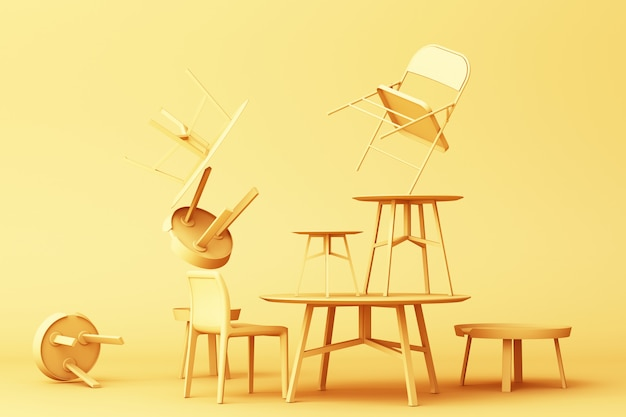 A lot of chairs and coffee table in yellow colour tone 3d rendering