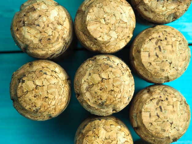 A lot of champagne corks as the background or substrate, for wine