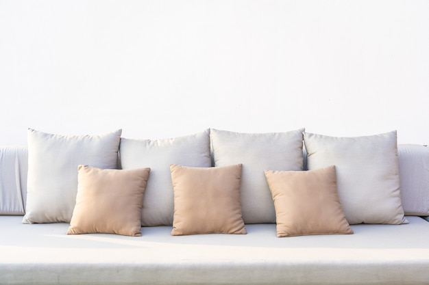A lot of comfortable pillow on sofa decoration interior of room