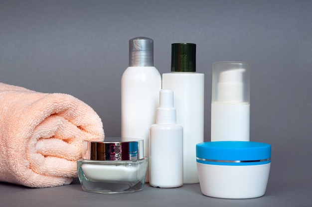 A lot of different cosmetic products for personal care
