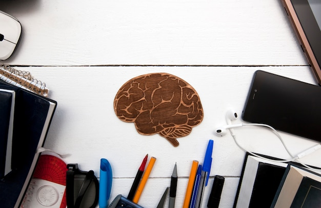 A lot of different education supplies on the wooden table and a little wooden brain between them