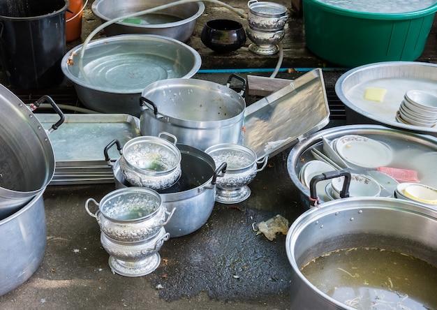 Lot of dirty dishware