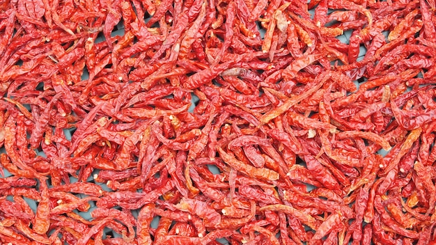 Lot of dried chili as a food background