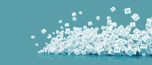 A lot of falling blocks with pictures of icons of social networking 3d illustration