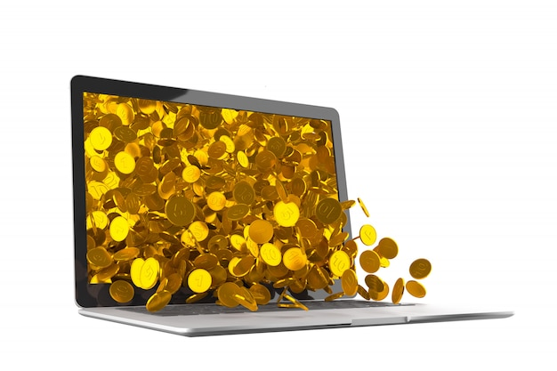 A lot of gold coins spilling out of the laptop monitor