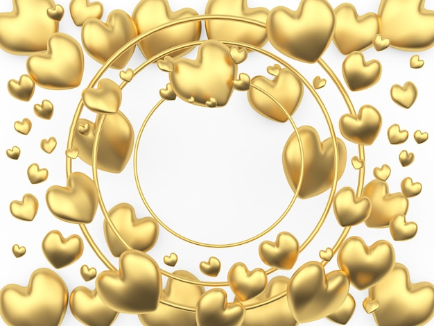 A lot of golden hearts among the empty round frame