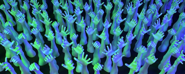 Lot of hands in neon light on a dark background, 3d illustration