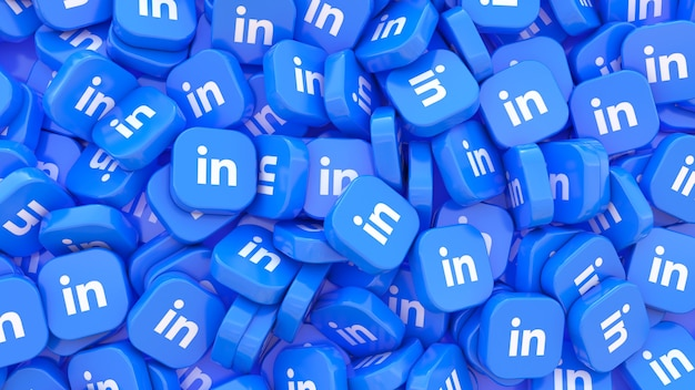 Lot of linkedin square badges in a close up view