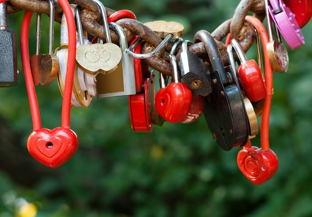 A lot of marriage love locks
