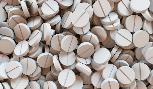 A lot of medication and pills from above. 3d rendering illustration